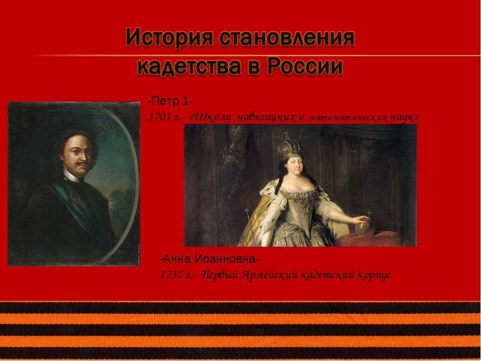 -Петр 1- 1701 г.- «Школа навигацких и математических наук» -Анна Иоанновна- 1...