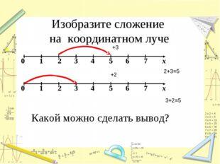 Изобразите сложение на координатном луче Какой можно сделать вывод? 2+3=5 3+2