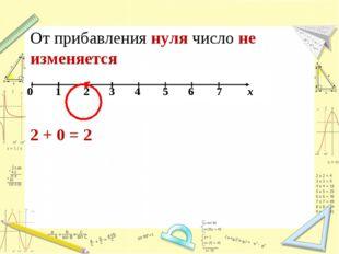 От прибавления нуля число не изменяется 2 + 0 = 2