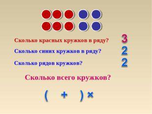 Сколько красных кружков в ряду? Сколько синих кружков в ряду? Сколько рядов к