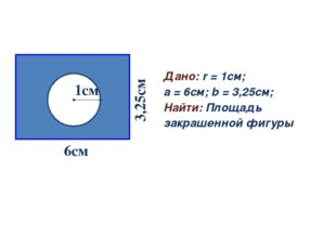 Задача № 3 Дано: r = 1см; a = 6см; b = 3,25см; Найти: Площадь закрашенной фиг