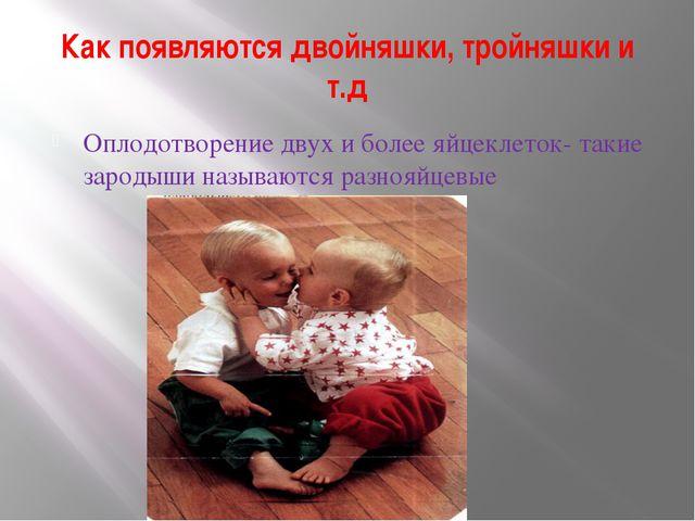 Как появляются двойняшки, тройняшки и т.д Оплодотворение двух и более яйцекле...