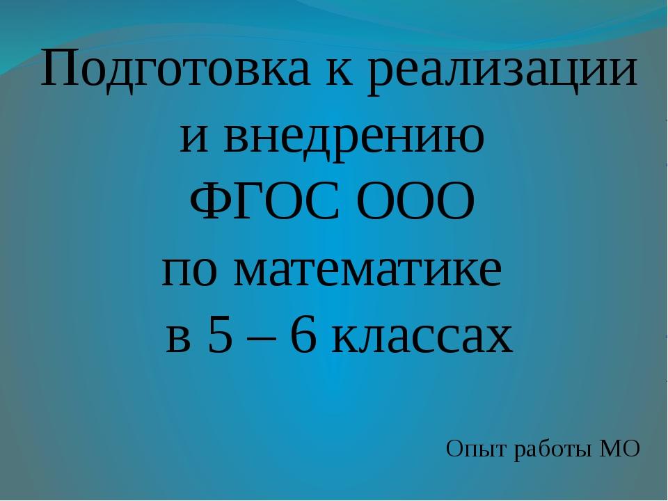 Подготовка к реализации и внедрению ФГОС ООО по математике в 5 – 6 классах Оп...
