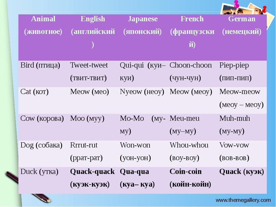 Animal (животное) English (английский) Japanese (японский) French (французск...
