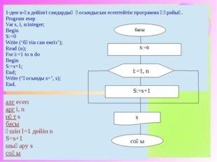 басы соңы S:=0 S:=s+1 i:=1, n s aлгесеп aргi, n нәтs басы үшінI=1дейінn S=s+1