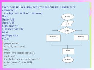 басы Соңы max:=A А>В max A.B max:=B Есеп. АжәнеВсандарыберілген.Екісанның үлк