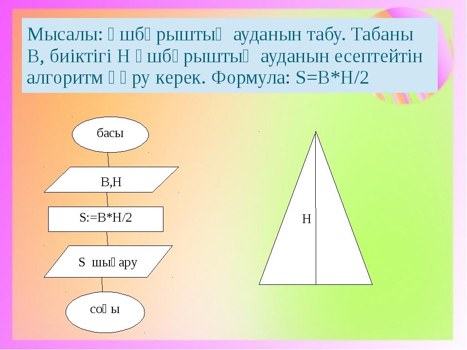 басы В,Н S:=B*H/2 S шығару соңы H Мысалы:Үшбұрыштың ауданынтабу.ТабаныВ,биікт...