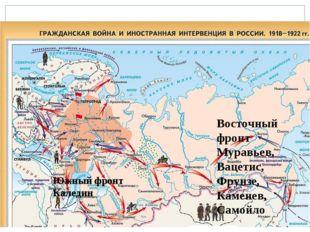 Южный фронт Каледин Восточный фронт Муравьев, Вацетис, Фрунзе, Каменев, Самойло