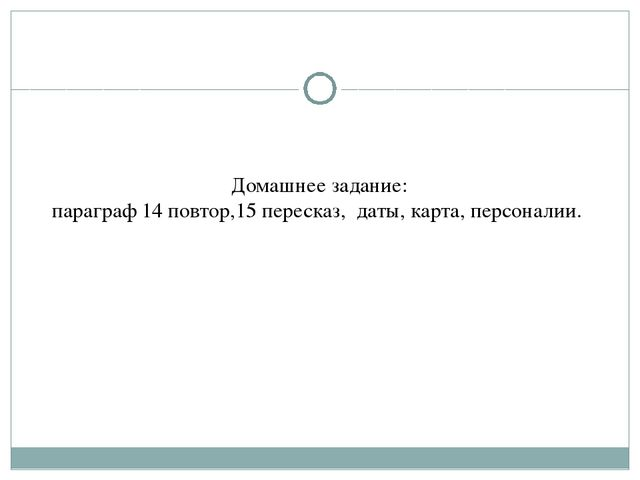 Домашнее задание: параграф 14 повтор,15 пересказ, даты, карта, персоналии.