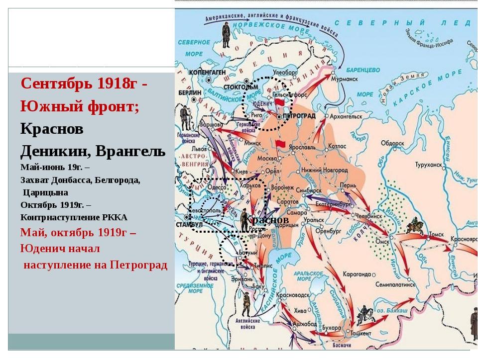 Сентябрь 1918г - Южный фронт; Краснов Деникин, Врангель Май-июнь 19г. – Захва...
