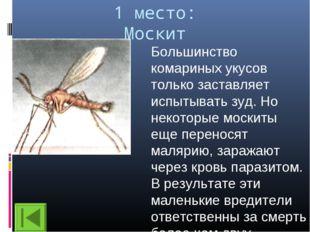1 место: Москит Большинство комариных укусов только заставляет испытывать зуд