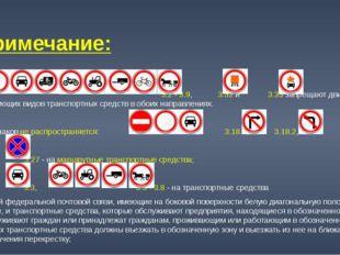 Примечание: Знаки 3.2 - 3.9, 3.32 и 3.33 запрещают движение соответствующих в