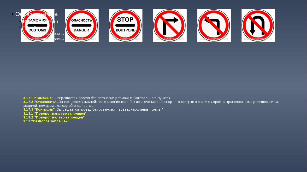"""3.17.1 """"Таможня"""". Запрещается проезд без остановки у таможни (контрольного пу..."""