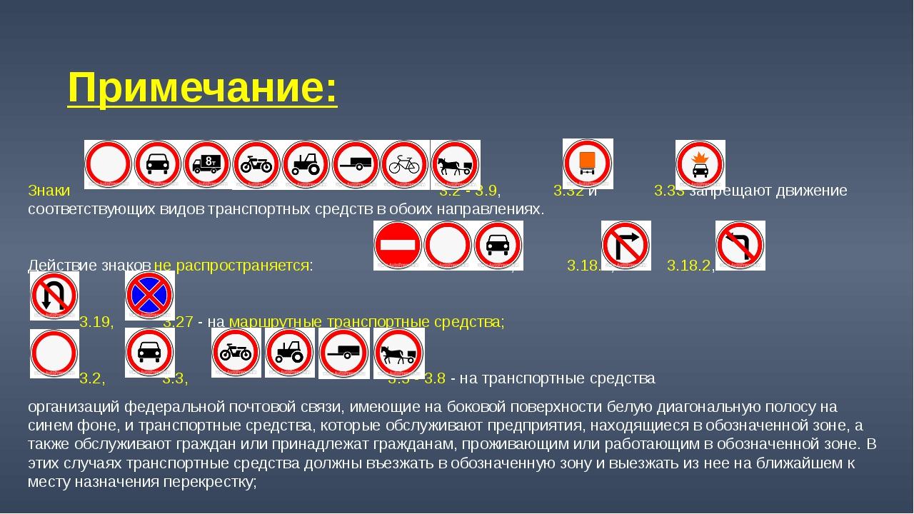 Примечание: Знаки 3.2 - 3.9, 3.32 и 3.33 запрещают движение соответствующих в...