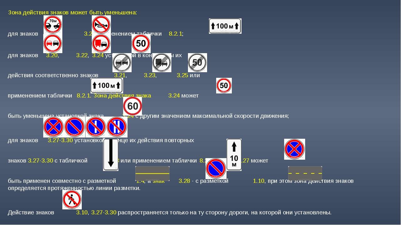 Зона действия знаков может быть уменьшена: для знаков 3.16 и  3.26 применен...