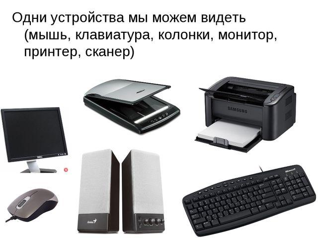 Одни устройства мы можем видеть (мышь, клавиатура, колонки, монитор, принтер,...