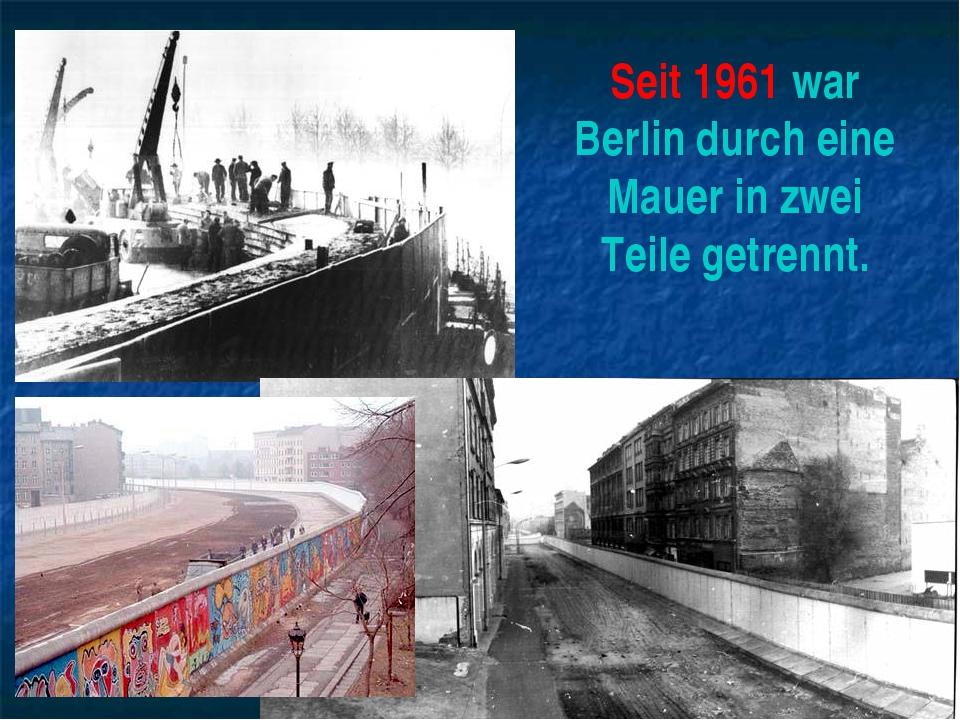 Seit 1961 war Berlin durch eine Mauer in zwei Teile getrennt.