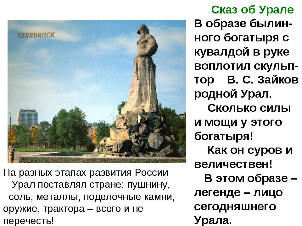 На разных этапах развития России Урал поставлял стране: пушнину, соль, металл...