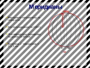 Меридианы Меридианы направлены на север и юг. Это полуокружности (180°). Все