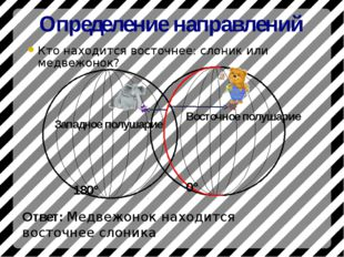 Определение направлений Кто находится восточнее: слоник или медвежонок? 180°