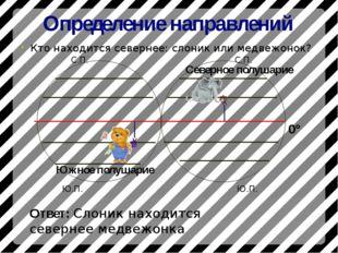 Определение направлений Кто находится севернее: слоник или медвежонок? 0° Сев