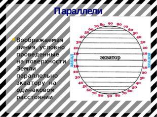 Параллели Воображаемая линия, условно проведенные на поверхности Земли паралл