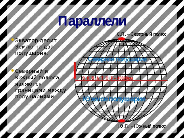 Параллели Экватор делит Землю на два полушария. Северный и Южный полюса являю...