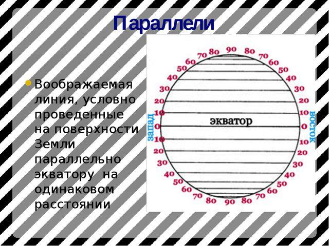 Параллели Воображаемая линия, условно проведенные на поверхности Земли паралл...