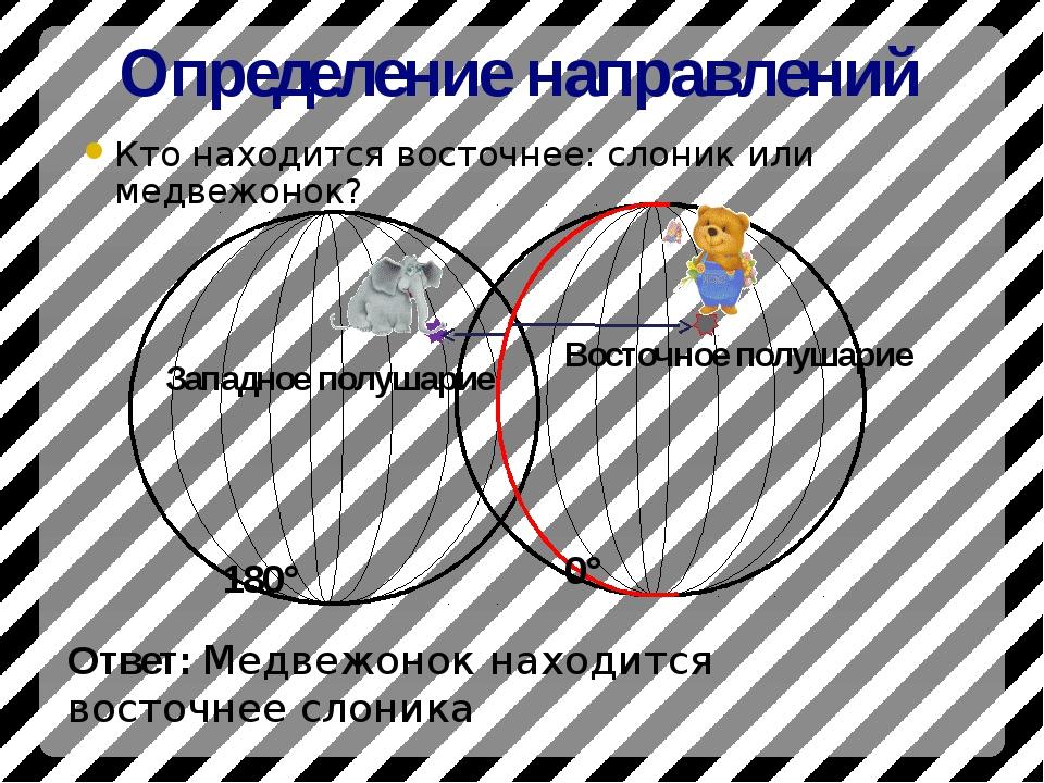 Определение направлений Кто находится восточнее: слоник или медвежонок? 180°...