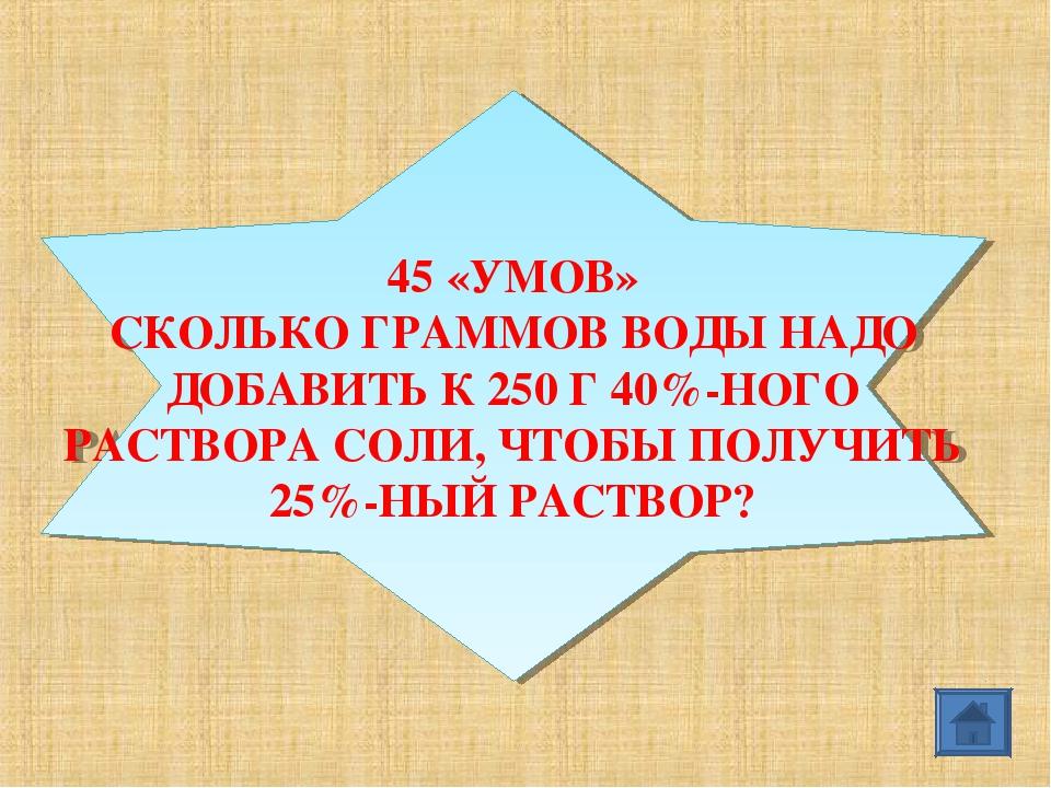 45 «УМОВ» СКОЛЬКО ГРАММОВ ВОДЫ НАДО ДОБАВИТЬ К 250 Г 40%-НОГО РАСТВОРА СОЛИ,...