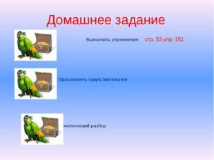 Домашнее задание Выполнить упражнение стр. 53 упр. 151 Просклонять существите