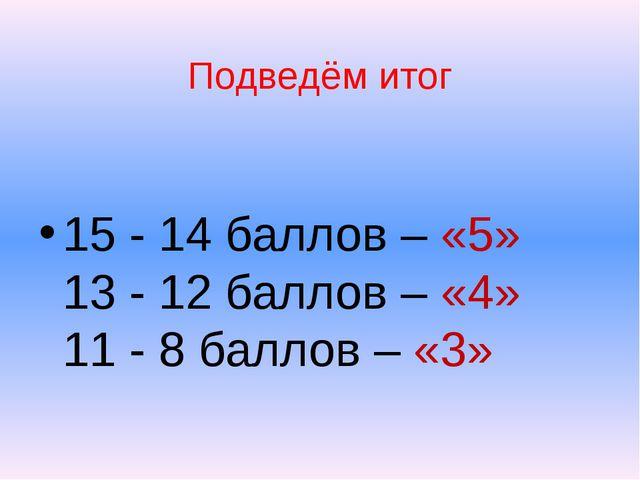 Подведём итог 15 - 14 баллов – «5» 13 - 12 баллов – «4» 11 - 8 баллов – «3»