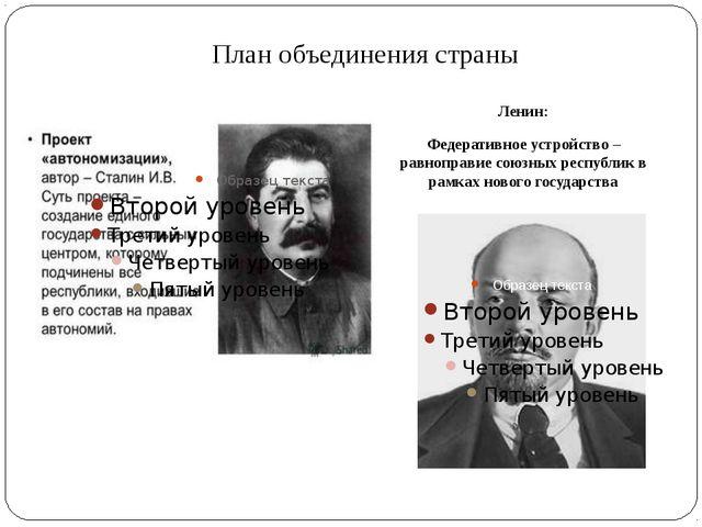 План объединения страны Ленин: Федеративное устройство – равноправие союзных...