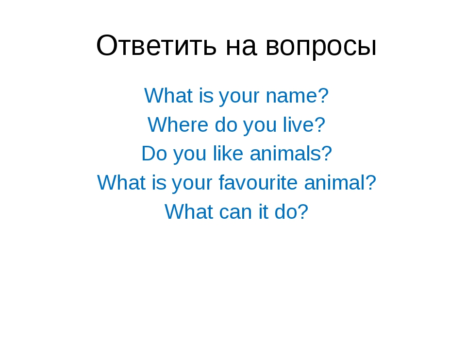 Ответить на вопросы What is your name? Where do you live? Do you like animals...