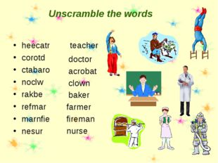 Unscramble the words heecatr corotd ctabaro noclw rakbe refmar marnfie nesur