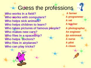Guess the professions Who works in a field? Who works with computers? Who hel