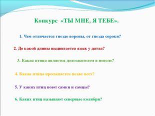 Конкурс «ТЫ МНЕ, Я ТЕБЕ». 1. Чем отличается гнездо вороны, от гнезда сороки?