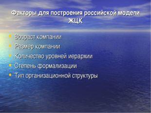 Факторы для построения российской модели ЖЦК Возраст компании Размер компании
