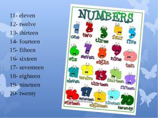 11- eleven 12- twelve 13- thirteen 14- fourteen 15- fifteen 16- sixteen 17-