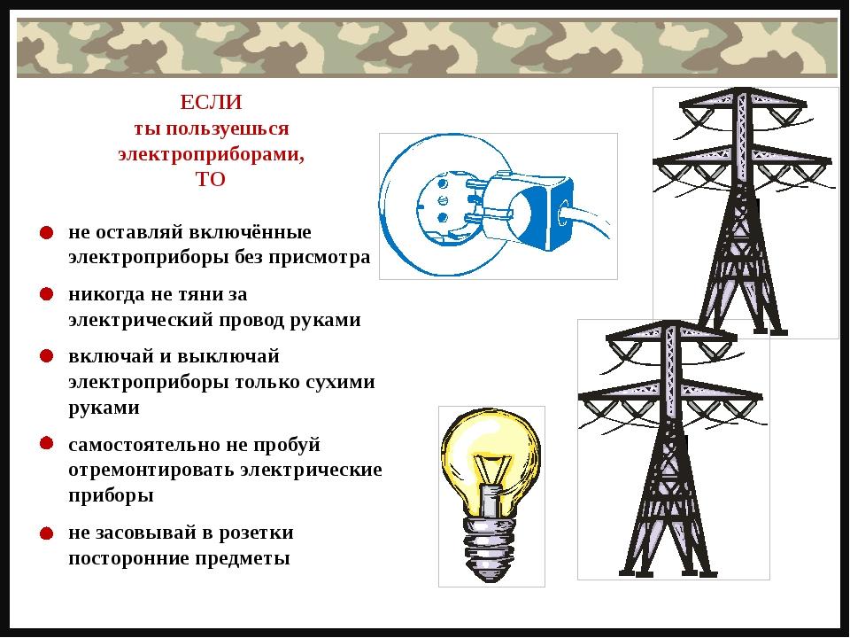 не оставляй включённые электроприборы без присмотра никогда не тяни за электр...