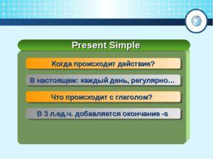 Present Simple Когда происходит действие? В настоящем: каждый день, регулярно