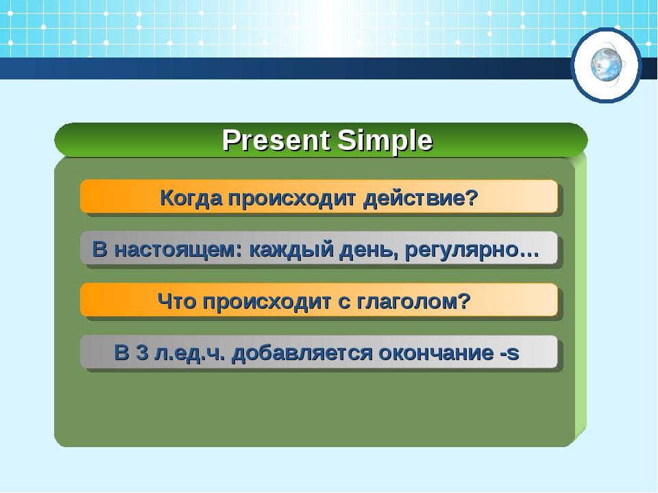 Present Simple Когда происходит действие? В настоящем: каждый день, регулярно...