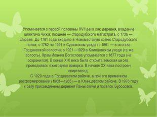Упоминается с первой половины XVII века как деревня, владение шляхтича Чижа;