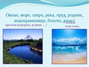 Океан, море, озеро, река, пруд, родник, водохранилище, болото, канал пресная