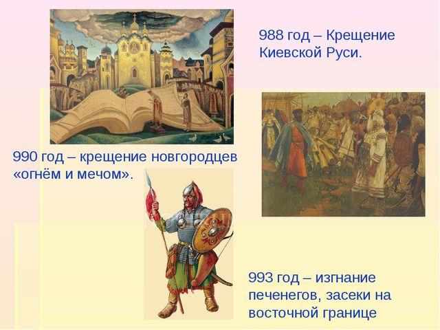 988 год – Крещение Киевской Руси. 990 год – крещение новгородцев «огнём и меч...