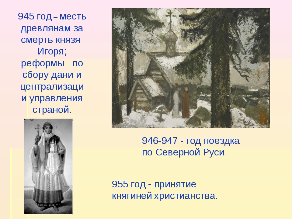 945 год – месть древлянам за смерть князя Игоря; реформы по сбору дани и цент...