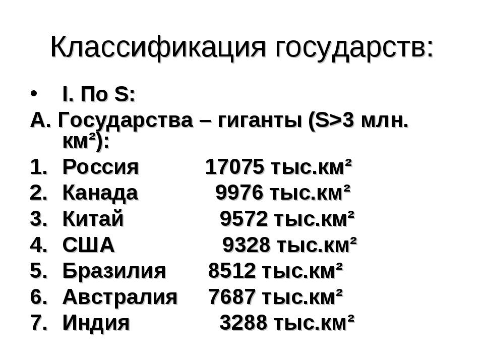Классификация государств: I. По S: А. Государства – гиганты (S>3 млн. км²): Р...