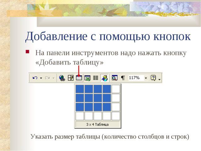Добавление с помощью кнопок На панели инструментов надо нажать кнопку «Добави...
