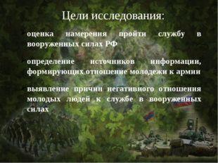 Цели исследования: оценка намерения пройти службу в вооруженных силах РФ опре