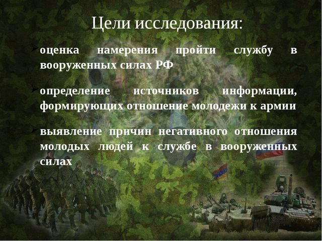 Цели исследования: оценка намерения пройти службу в вооруженных силах РФ опре...